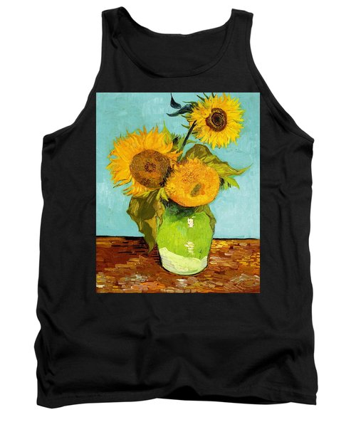 Three Sunflowers In A Vase Tank Top
