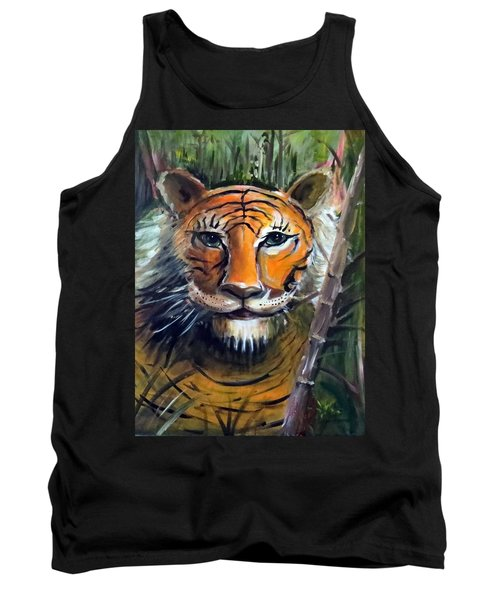 Tank Top featuring the painting Tiger by Bernadette Krupa