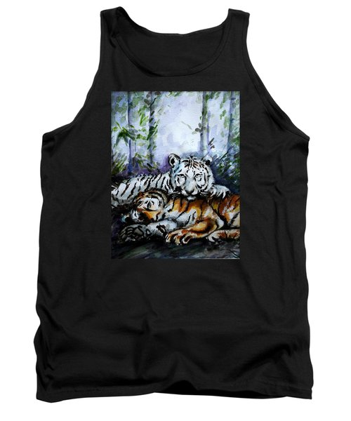Tank Top featuring the painting Tigers-mother And Child by Harsh Malik