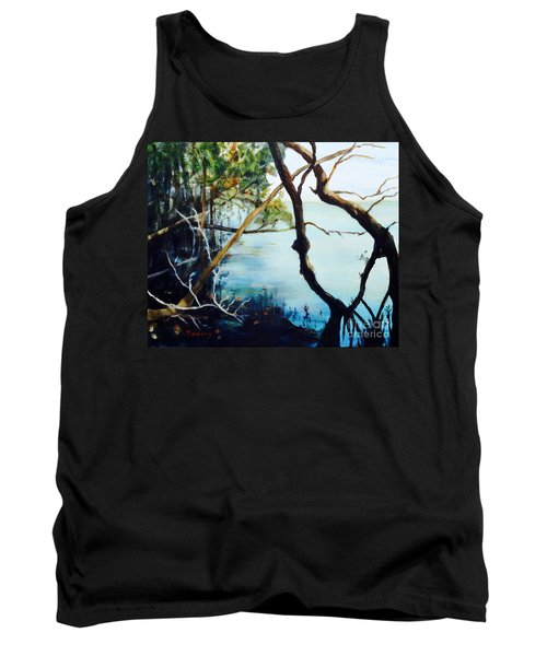 Tank Top featuring the painting Timeless Forest by Mary Lynne Powers