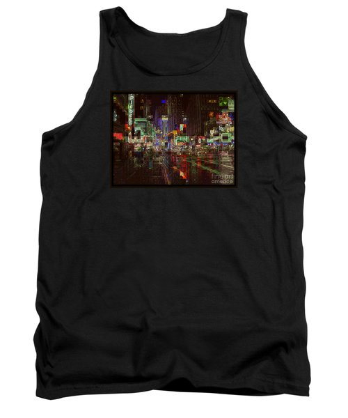 Times Square At Night - After The Rain Tank Top