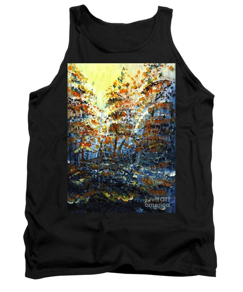 Tank Top featuring the painting Tim's Autumn Trees by Holly Carmichael
