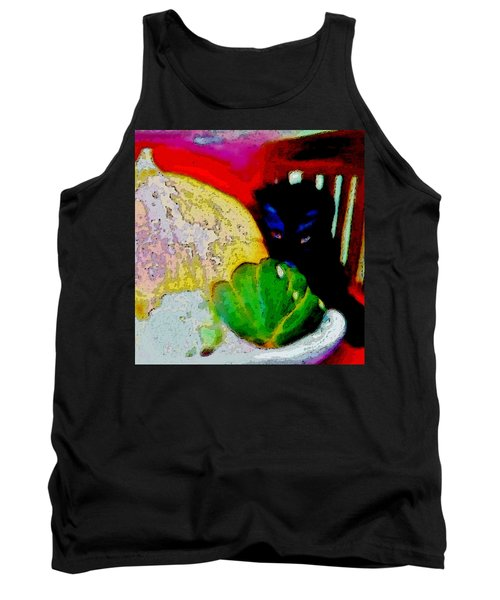 Tank Top featuring the painting Tiny Black Kitten by Lisa Kaiser