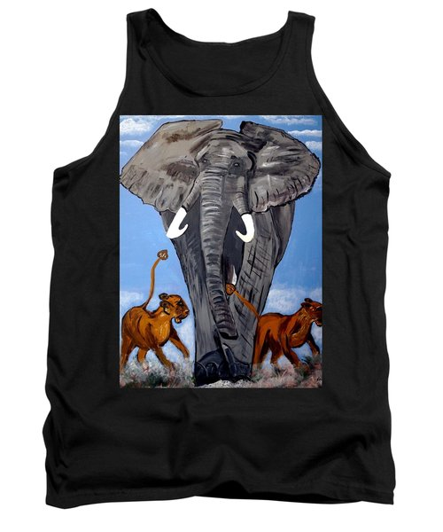 Tank Top featuring the painting Trampling Elephant by Nora Shepley