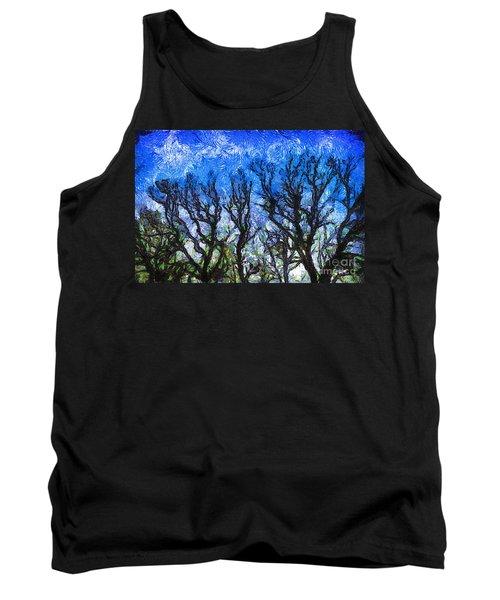 Trees On Blue Night Sky Digital Painting Artwork Tank Top