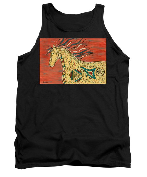 Tank Top featuring the painting Tribal Spirit Horse by Susie WEBER