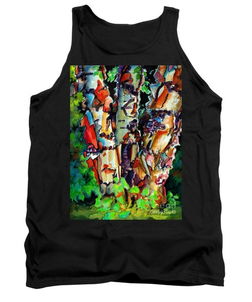 Tank Top featuring the painting Trio Birch 2014 by Kathy Braud