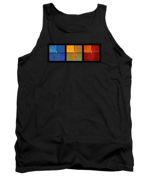 Triptych Blue Green Red - Colorful Rust Tank Top
