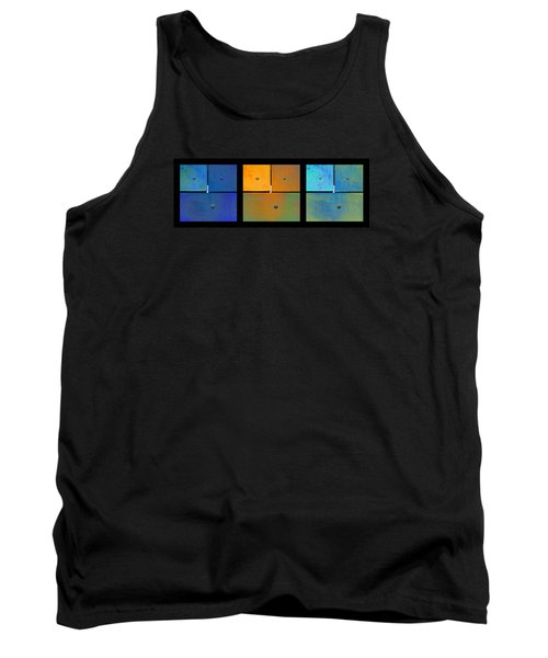 Triptych Blue Orange Cyan - Colorful Rust Tank Top