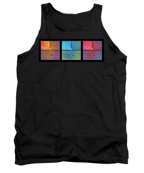 Triptych Gold Cyan Magenta - Colorful Rust Tank Top