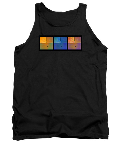 Triptych Orange Blue Gold - Colorful Rust Tank Top
