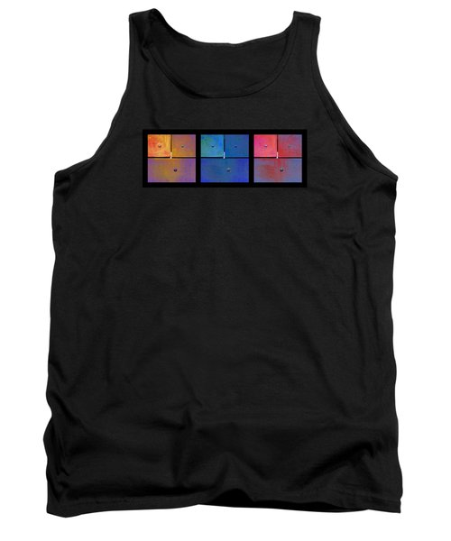 Triptych Gold Blue Magenta - Colorful Rust Tank Top