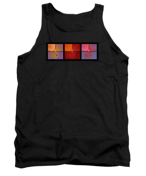 Triptych Purple Red Magenta - Colorful Rust Tank Top
