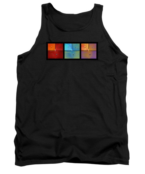 Triptych Red Cyan Purple - Colorful Rust Tank Top