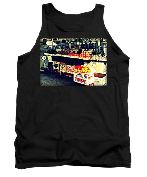 Tank Top featuring the photograph Vintage Outdoor Fruit And Vegetable Stand - Markets Of New York City by Miriam Danar