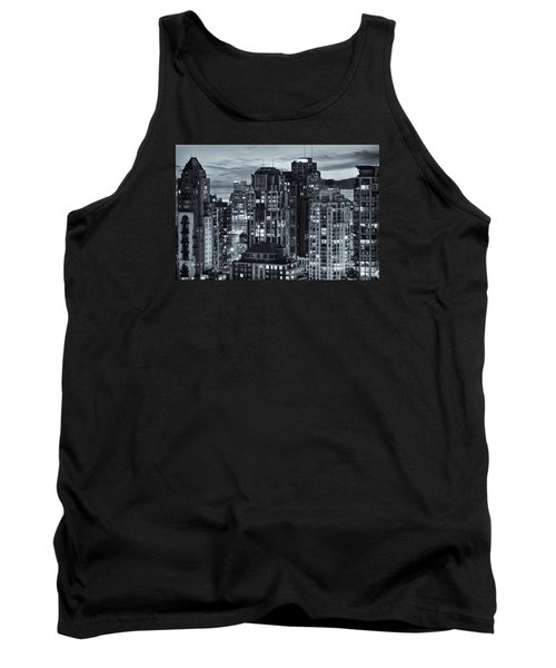 Tank Top featuring the photograph Twilight On Cityscape Of Vancouver Overlooking English Bay - Greeting Card by Amyn Nasser