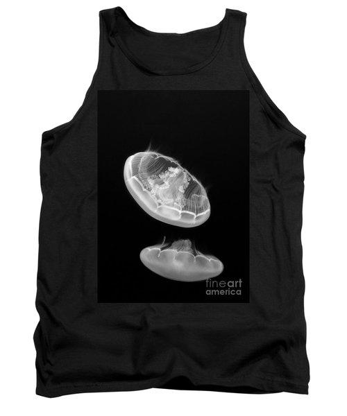 Ufos - Moon Jelly Aurelia Labiata In Black And White. Tank Top