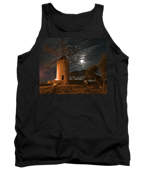 Vintage Windmill In Es Castell Villacarlos George Town In Minorca -  Under The Moonlight Tank Top by Pedro Cardona