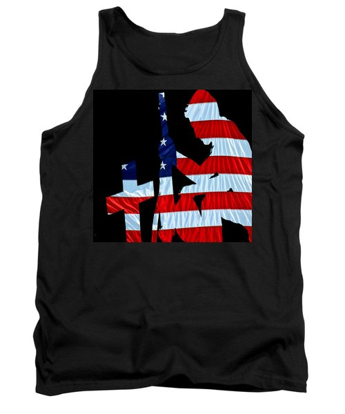 A Time To Remember United States Flag With Kneeling Soldier Silhouette Tank Top by Bob Orsillo