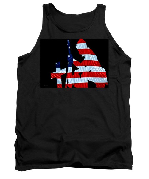 A Time To Remember United States Flag With Kneeling Soldier Silhouette Tank Top