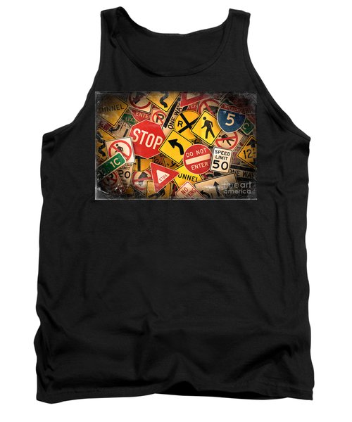 Tank Top featuring the photograph Usa Traffic Signs by Carsten Reisinger
