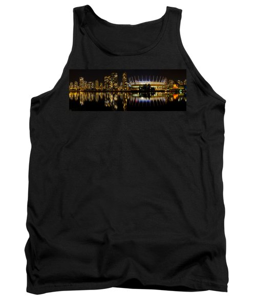Tank Top featuring the photograph Vancouver Bc Skyline Along False Creek At Night by JPLDesigns