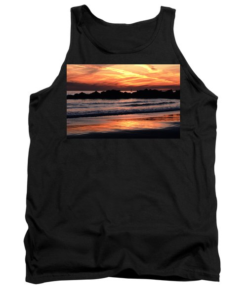 Tank Top featuring the photograph Venice Beach Breaker Orange Yellow Sunset by Tom Wurl