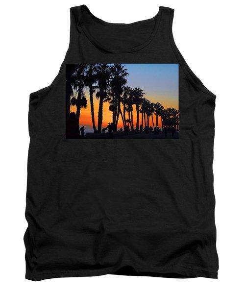 Tank Top featuring the photograph Ventura Boardwalk Silhouettes by Lynn Bauer