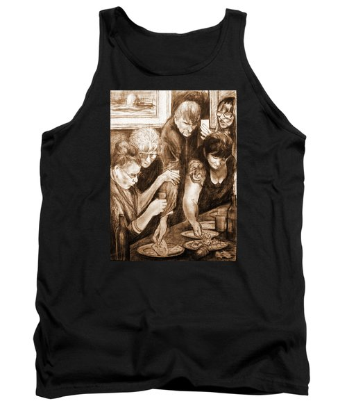 Tank Top featuring the drawing Vernisage 2 by Mikhail Savchenko