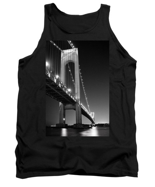 Verrazano Bridge At Night - Black And White Tank Top