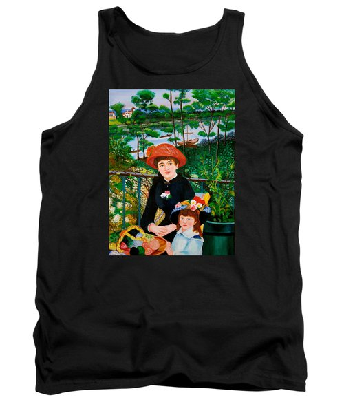 Tank Top featuring the painting Version Of Renoir's Two Sisters On The Terrace by Cyril Maza