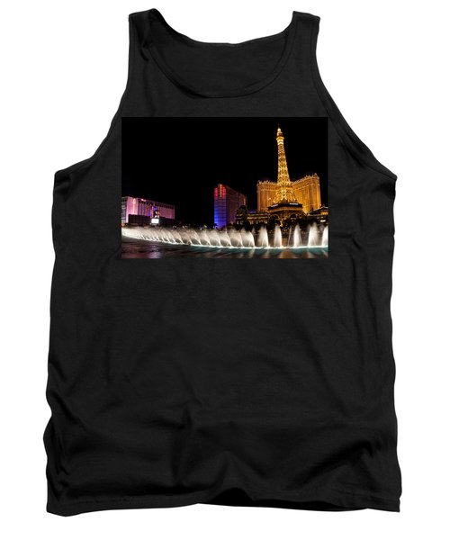Vibrant Las Vegas - Bellagio's Fountains Paris Bally's And Flamingo Tank Top