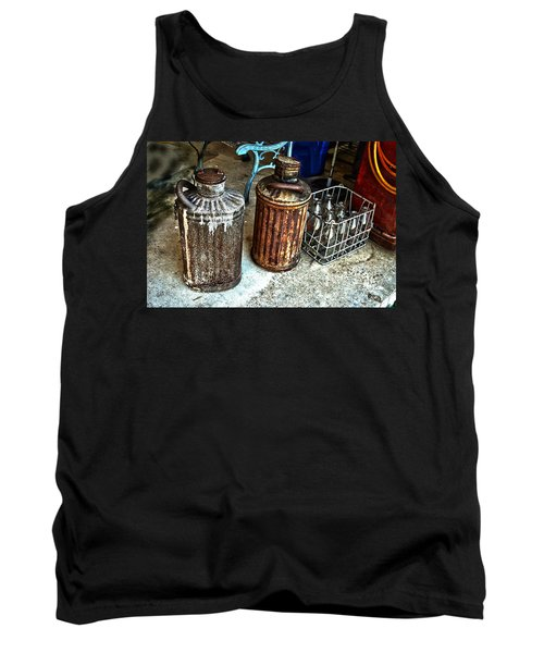 Tank Top featuring the photograph Hdr Vintage Art  Cans And Bottles by Lesa Fine
