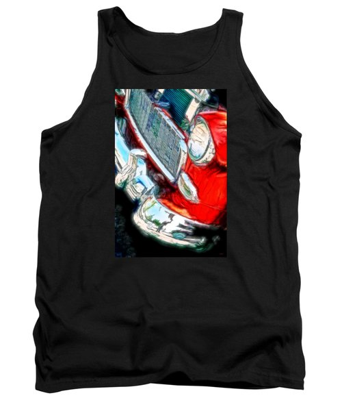 Vintage Chevy Art Alley Cat 3 Red Tank Top