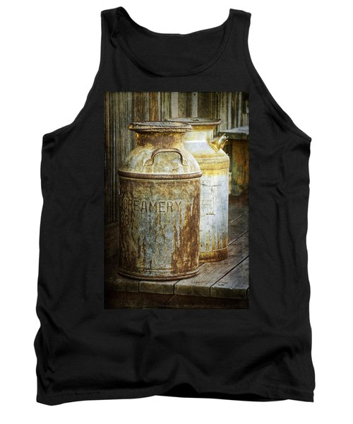 Vintage Creamery Cans In 1880 Town In South Dakota Tank Top by Randall Nyhof