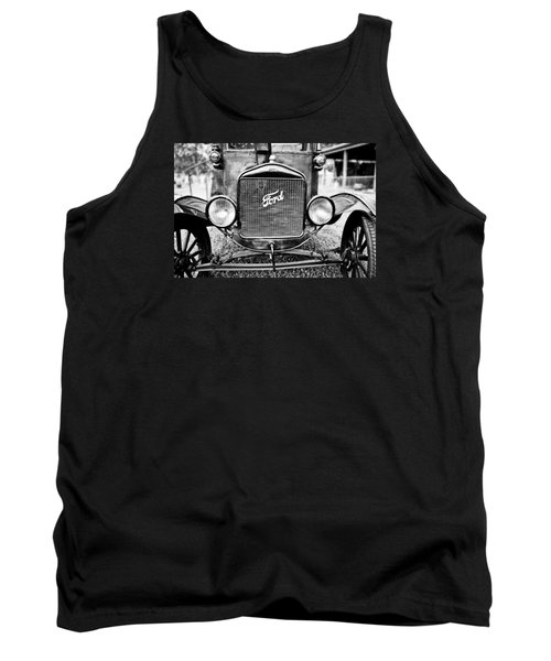 Vintage Ford In Black And White Tank Top by Colleen Kammerer