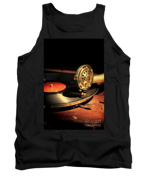 Vintage Record Player Tank Top by Jill Battaglia