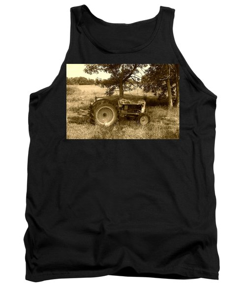 Vintage Tractor In Sepia Tank Top