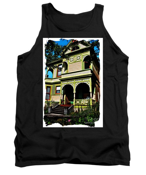 Tank Top featuring the digital art Vintage Victorian Home Watercolor Style Art Prints by Valerie Garner