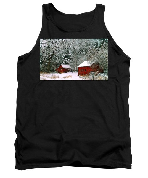 Tank Top featuring the photograph Vintage Winter Barn  by Peggy Franz
