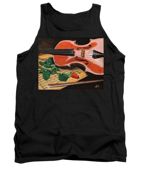 Violin And Rose Tank Top
