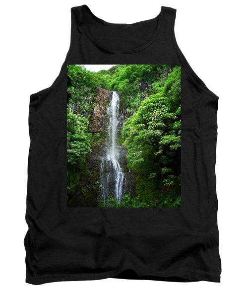 Waikani Falls At Wailua Maui Hawaii Tank Top by Connie Fox