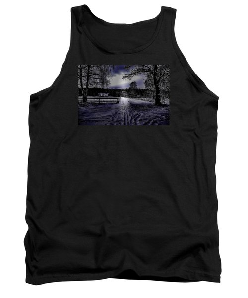 Tank Top featuring the photograph #walk-way In A Pinhole Presentation Over Dyarna A #winter #day Near City Enkoping Sweden January 201 by Leif Sohlman