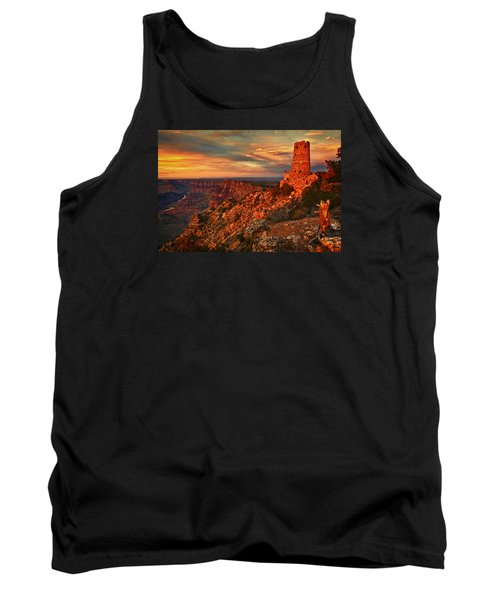 Tank Top featuring the photograph Watchtower Sunset by Priscilla Burgers