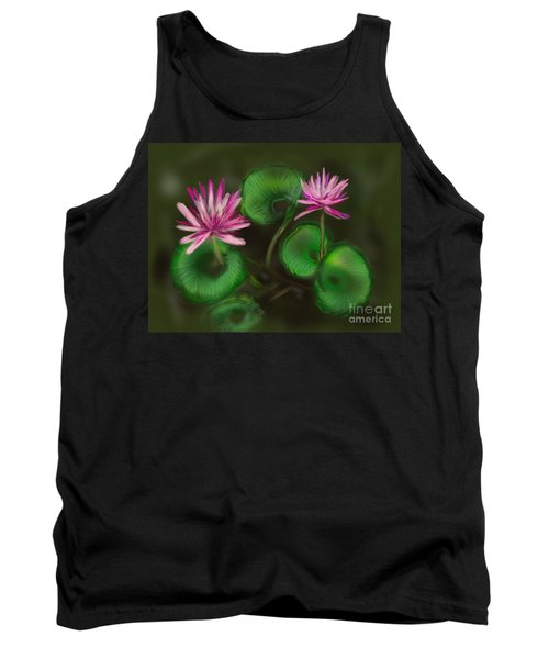 Tank Top featuring the digital art Water Lilies by Christine Fournier