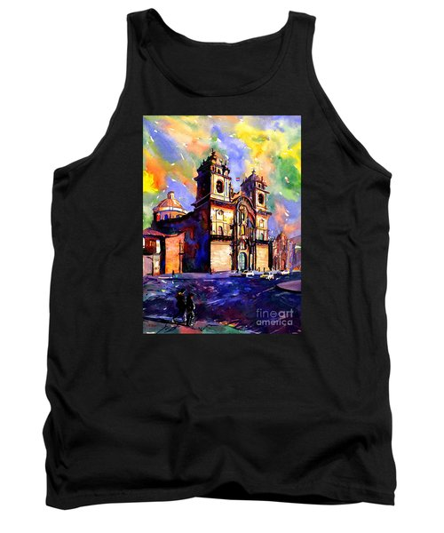 Watercolor Painting Of Church On The Plaza De Armas Cusco Peru Tank Top