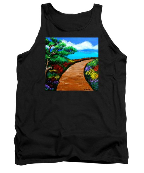 Tank Top featuring the painting Way To The Sea by Cyril Maza