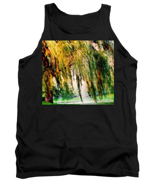 Weeping Willow Tree Painterly Monet Impressionist Dreams Tank Top by Carol F Austin