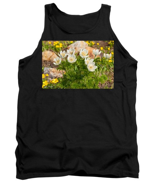 Tank Top featuring the photograph Western Pasqueflower And Buttercups Blooming In A Meadow by Jeff Goulden