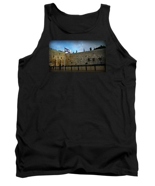 Western Wall And Israeli Flag Tank Top by Stephen Stookey